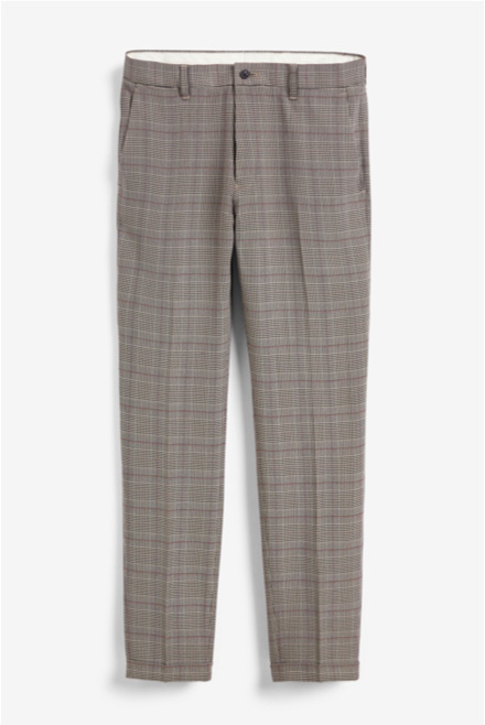 Taupe Check Skinny Trousers