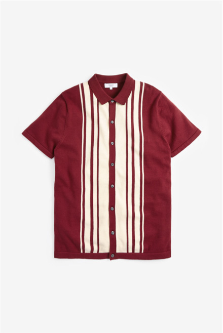 Burgundy Knitted Polo